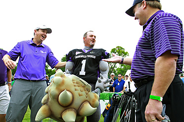 Jerry Kelly wore the full costume of TCU's mascot during the Colonial's pro-am tournament Wednesday.