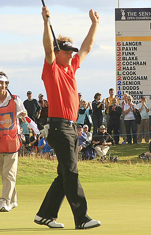 Bernhard Langer shot a 1-over 72 at Carnoustie on Sunday to finish at 5-under for the event.
