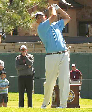 Tom Lehman began the sudden death playoff on No. 18 with a solid shot down the fairway, and won the event by making a par.