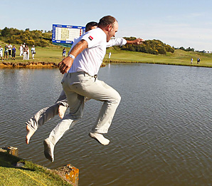 Thomas Levet Levet leaped into a lake after beating England's Mark Foster and Dane Thorbjorn Olesen by a shot.