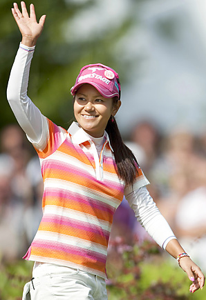 Ai Miyazato earned her first victory of the year at the Evian Masters.