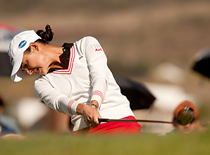 Lorena Ochoa opened with a 7-under 66 and trails Ai Miyazato by three strokes after one round.