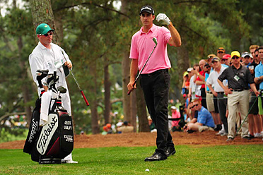 Geoff Ogilvy shot a 73 on Saturday at the Masters. He trails Rory McIlroy by seven strokes.