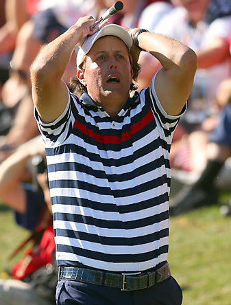 Phil Mickelson lost his Sunday singles match at the Ryder Cup as the U.S. fell to Europe.