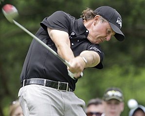 Phil Mickelson successfully blasted a ball off a cart path in his final round at the Memorial.