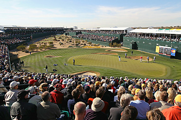 The scene at the 16th hole at TPC Scottsdale is unlike anything else in golf.