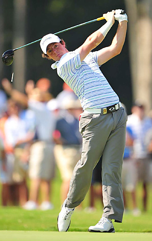 Rory McIlroy had his right wrist and forearm taped during a second-round 73.