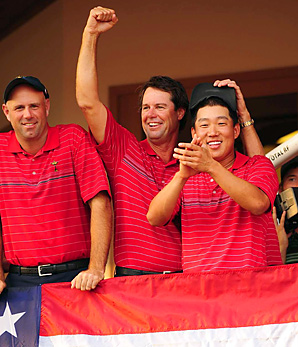 The Americans are the defending Ryder Cup champs.
