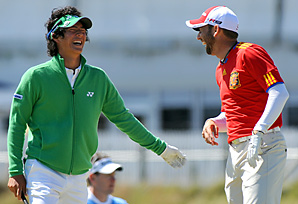 Ryo Ishikawa and Sergio Garcia (clad in a Spanish soccer jersey) shared a laugh during Tuesday's practice round.