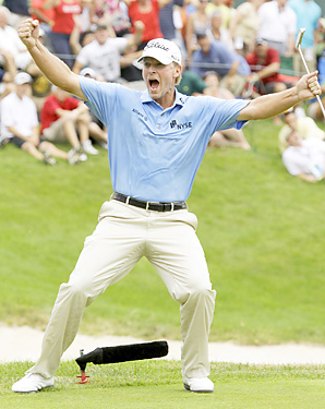 Steve Stricker buried a 25-footer to win his third straight John Deere title.