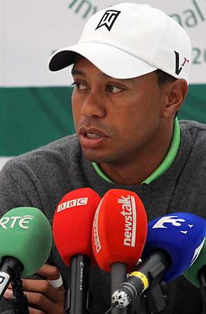 Tiger Woods shot a 69 on Tuesday in an Irish pro-am event, then held a testy press conference.