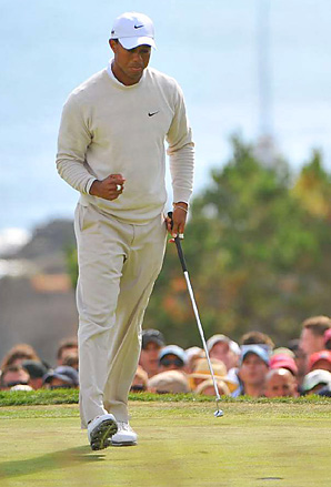 Tiger Woods trails Dustin Johnson by five shots entering the final round.