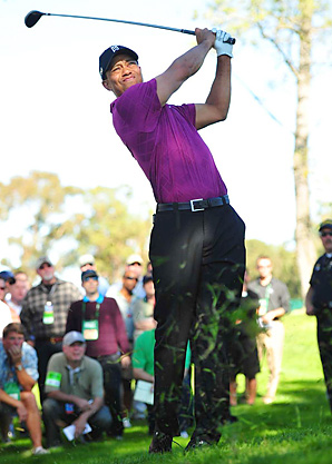 Tiger Woods missed the fairway on each of his par 5s on Thursday.