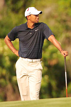 Tiger Woods hasn't played since withdrawing from the Players Championship after nine holes.