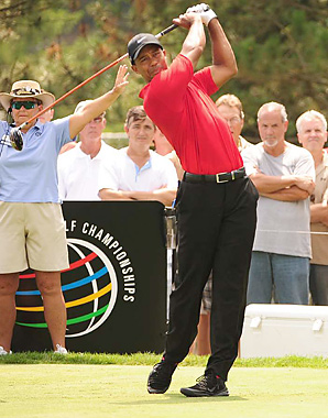 Tiger Woods shot an even-par 70 on Sunday at Firestone.