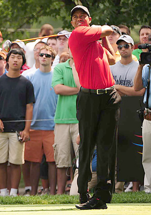 Tiger Woods shot an even-par 70 on Sunday at Firestone.