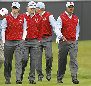 Tiger Woods, Zach Johnson, Hunter Mahan and Steve Stricker practiced together on Tuesday.