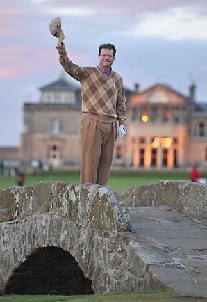 Tom Watson on the Swilcan Bridge at St. Andrews on Friday.