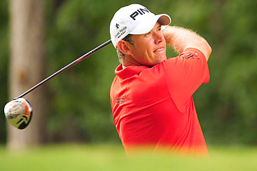 Lee Westwood shot an even-par 70 and trails the leaders by six shots heading into Sunday.