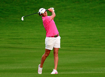 Lee-Anne Pace of South Africa hits a fairway shot during the final round of the LPGA Blue Bay Championship at the Jian Lake club in Sanya on the southern Chinese island of Hainan.