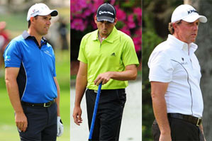 From left to right: Padraig Harrington, Sergio Garcia and Phil Mickelson.