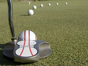 Drawing two red lines on your putter is the best alignment method.