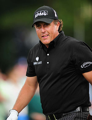 Phil Mickelson is five strokes off the lead heading into Monday's finish.