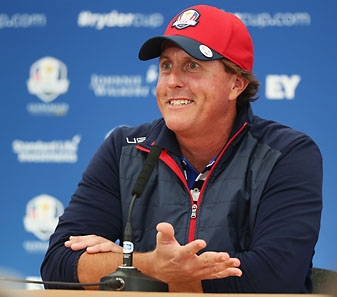 A deadpan Phil Mickelson told the Ryder Cup press room that the U.S. team has an advantage this week because they 'don't litigate against each other.'