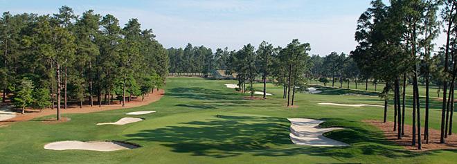 The 17th hole at Pinehurst No. 2.