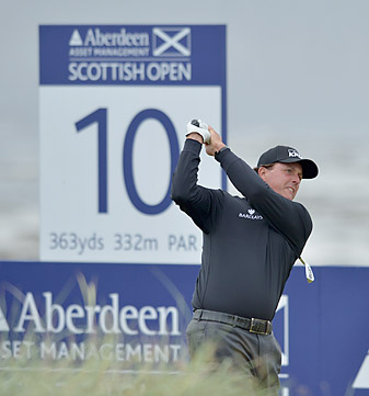 """Phil Mickelson opened with a 73 at Castle Stuart. <strong><a href=""""http://www.golf.com/photos/2012-scottish-open"""">More photos</a></strong>"""