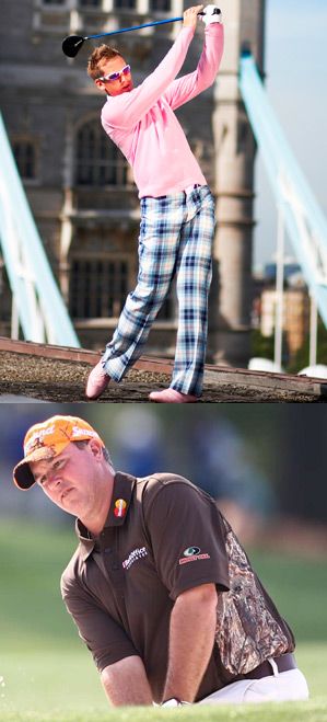 Poulter's look is inspired by the Scottish tradition of tartan plaids, while Weekley's clothing line showcases his love of the outdoors.