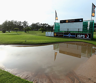 Much of the course was under water after heavy rains.