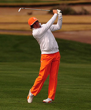 Rickie Fowler made a statement with his play and his brightly-colored wardrobe.