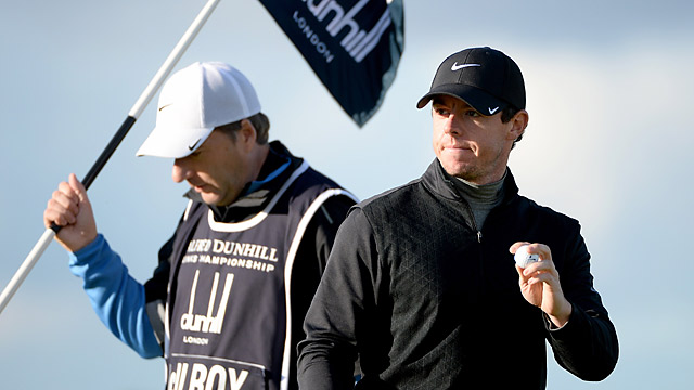 Rory McIlroy fired a 64 in the third round to move into a tie for second place.