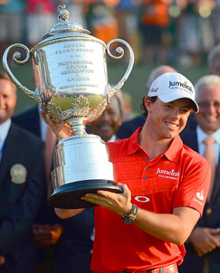 Rory McIlroy with the Wanamaker Trophy after he won the 2012 PGA Championship at Kiawah Island.