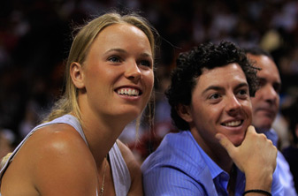 Rory McIlroy and Caroline Wozniacki attended the Miami Heat and Washington Wizards game on December 15.