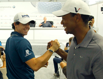 Rory McIlroy, left, had another playful exchange with Tiger Woods Wednesday at Crooked Stick.