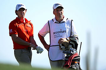 Rory McIlroy and his caddie, J.P. Fitzgerald.