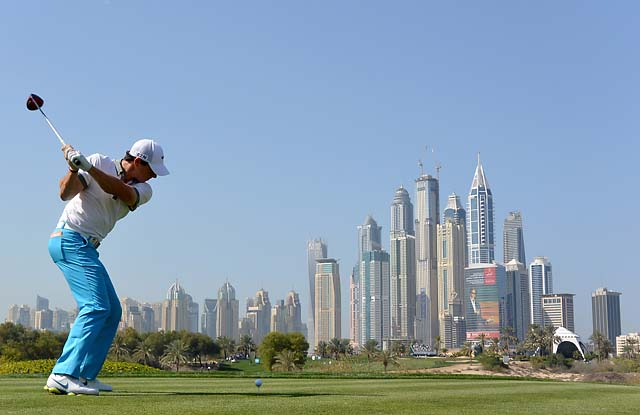 Rory McIlroy tees off on the eighth hole of the Emirates Golf Club in Omega Dubai Desert Classic on Thursday.