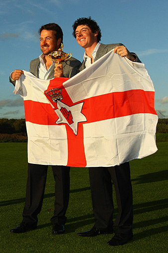 Graeme McDowell, left, and Rory McIlroy held up the Northern Ireland flag after winning the 2010 Ryder Cup.