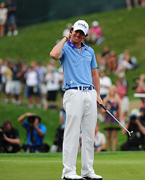 Rory McIlroy after sinking his final putt on Sunday.