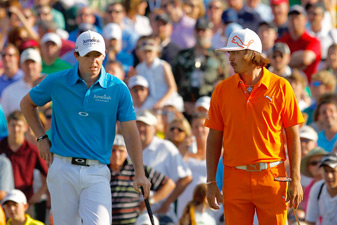 Rickie Fowler, right, and Rory McIlroy are two fast players who are starting to slow down their pace of play.