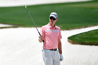 Justin Rose during a Tuesday practice round prior to the start of the 2014 Masters Tournament.