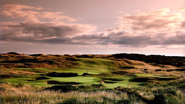 The par-3 11th hole on the Dunluce Course at Royal Portrush.