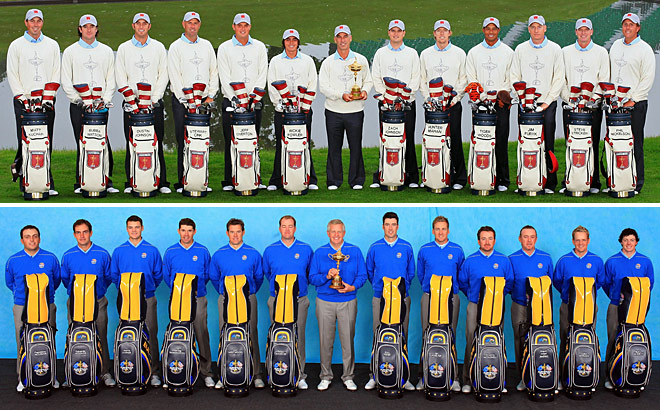 2010 Ryder Cup: Team USA (top) and Team Europe (bottom)at Celtic Manor in Newport, Wales.