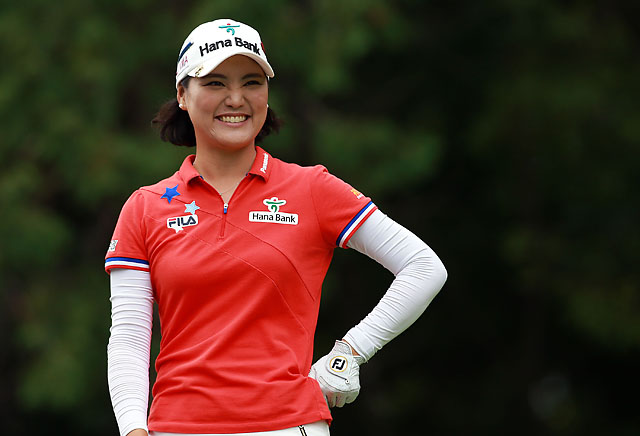 So Yeon Ryu smiles while waiting to tee off on the 8th hole during the third round of the LPGA Canadian Pacific Women's Open on Saturday.