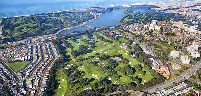 Three of the Bay Area's premier courses (clockwise from bottom: San Francisco Golf Club, Olympic Club and TPC Harding Park) are neighbors surrounding Lake Merced.
