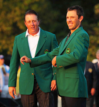 Charl Schwartzel (left) won his first major last year at Augusta, as did Phil Mickelson in 2004.