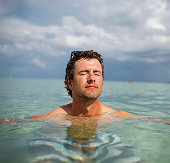 DEAD CALM: Scott, relaxing off the coast of Miami, says he has more confidence in his game than ever.