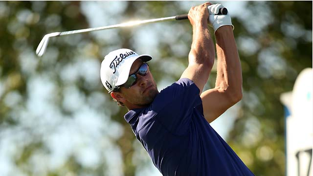 Adam Scott shot a bogey-free 66 on Sunday to win the Barclays over Tiger Woods, Phil Mickelson, Justin Rose and Bubba Watson.